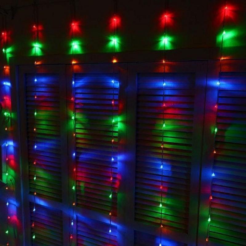 "Гирлянда ""Штора"" (занавеска) 200 LED 5mm 3м/1м разноцветная на прозрачном проводе"