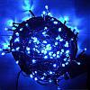 Гирлянда профессиональная светодиодная нить 100 LED 10м на черном проводе уличная цвет синий, фото 3