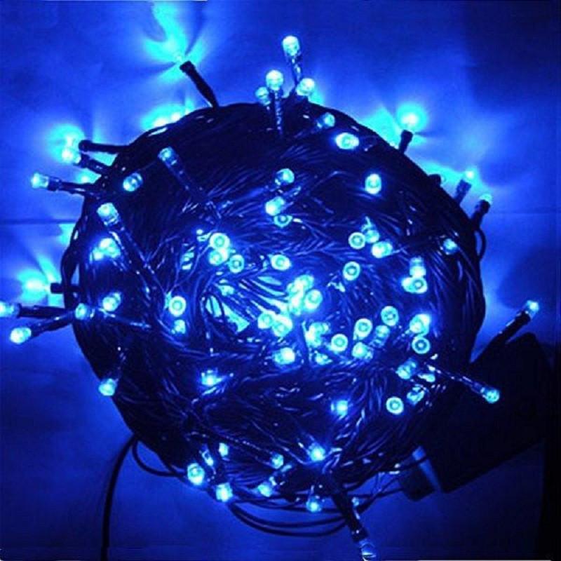 Гирлянда профессиональная светодиодная нить 200 LED 15м на черном проводе уличная цвет синий