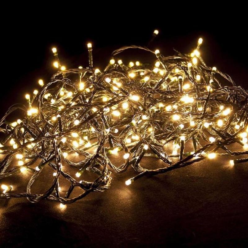 Гирлянда профессиональная светодиодная нить 200 LED 15м на черном проводе уличная цвет теплый белый