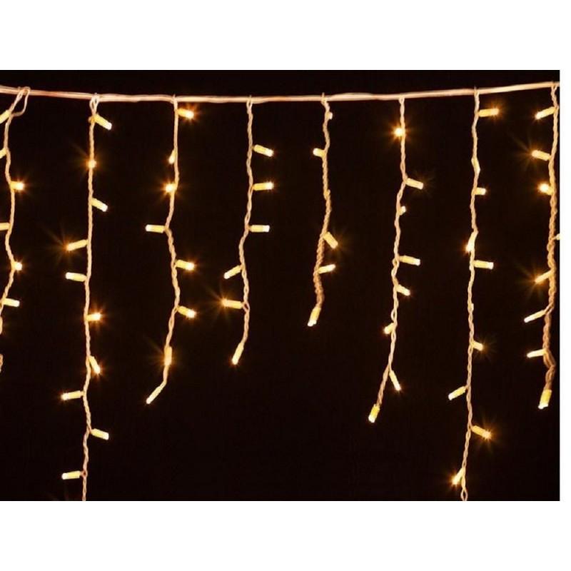 Гирлянда уличная бахрома (сосульки) 100 LED 5mm 3м 70/60/50 см на черном проводе уличная цвет тепло белый