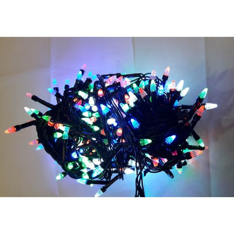 Гирлянда елка 200 LED 16м разноцветная на черном проводе