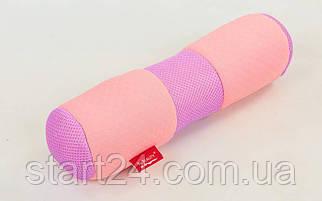 Болстер (валик) для йоги мягкий FI-6990 (хлопок, р-р 36х11см, розовый)