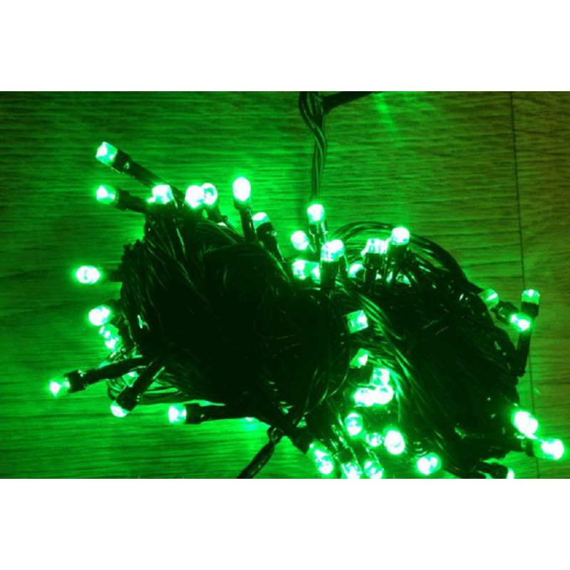 Гирлянда иголка 100 LED 9м зеленая на черном проводе