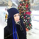 Синие волосы для самостоятельного крепления на свои волосы, фото 5