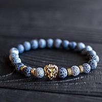 Мужской каменный браслет mod.GrayLion gold, фото 1