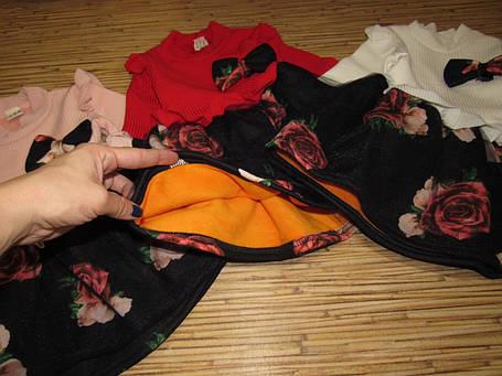 Нарядное детское платье на девочку утепленное на плюше розовое, фото 2