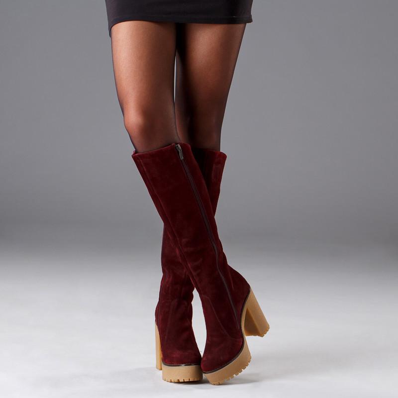 Сапоги женские кожаные на платформе до колена размеры 36-41