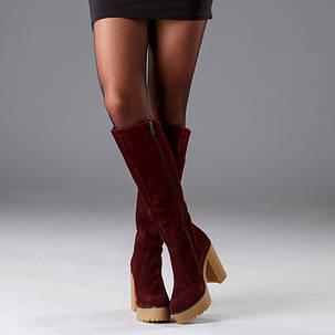 Сапоги женские кожаные на платформе до колена размеры 36-41, фото 2