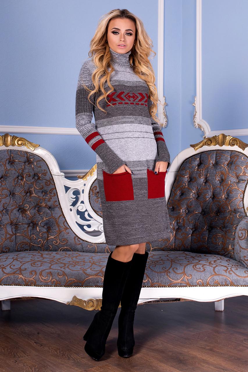Вязаное платье Ириша 42-50 вишня