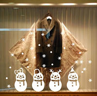 """Новогодние силиконовые наклейки на окна """"Снеговики"""" - 42*19см"""