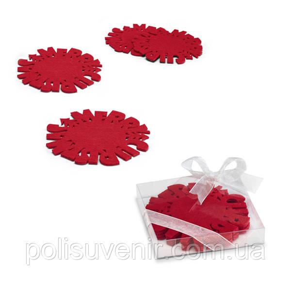 Набор из 4-х подстаканников, цвет красный