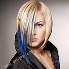 Модные синие прядки волос на заколках, фото 8