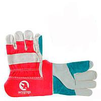 Перчатка замшевая комбинированная сшивная ладонь INTERTOOL SP-0153W