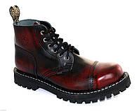 Средние ботинки Steel бордово-черные с эффектом затертости на 6 дырок, Размер 47