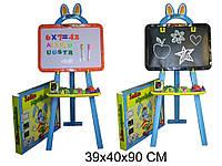 Дошка мольберт для малювання Зайчик-познавайка 8002, магнітно-рисувальний