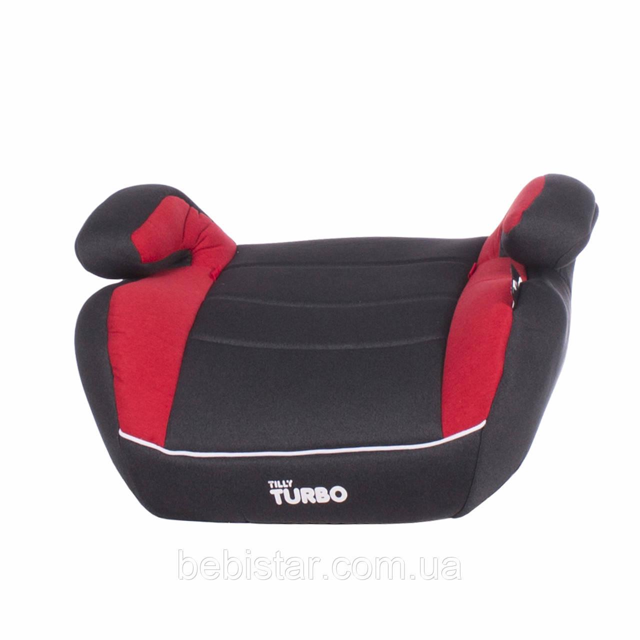 Автокресло-бустер темно-серое с красными вставками TILLY Turbo