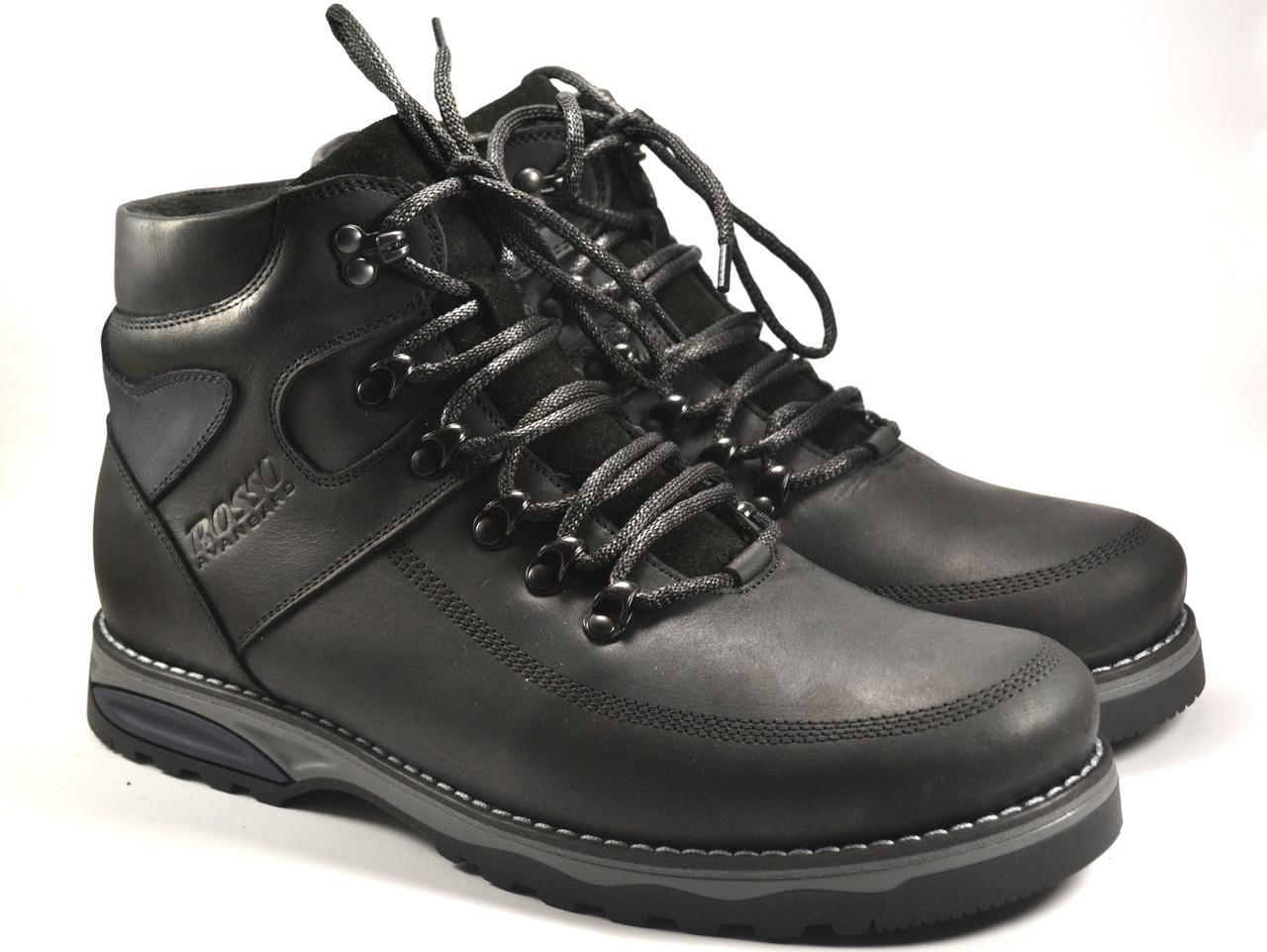 Ботинки зимние большой размер мужские черные кожаные на меху Rosso Avangard BS Major Payne Sport Trend Black