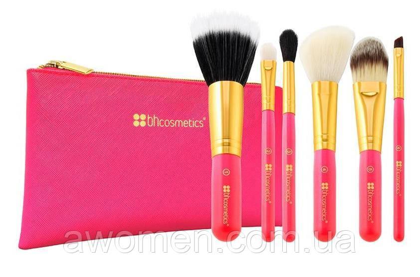 Набор кистей для макияжа BH Cosmetics Neon Pink mini (5 штук)