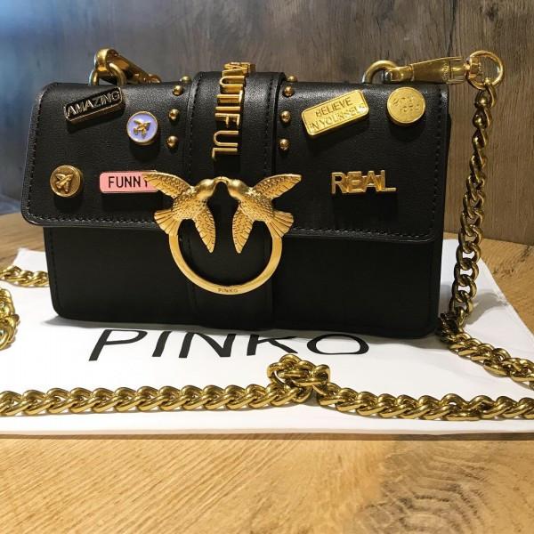 Женская мини-сумочка Pinko (Пинко) Black Mini, черный цвет
