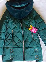 """Детское зимнее пальто на девочку подростка с мутоном """"Ромбики"""" Размеры 38 - 44"""