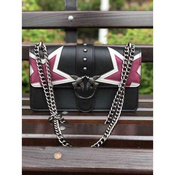 Женская мини-сумочка Pinko (Пинко) Black Star, черный цвет