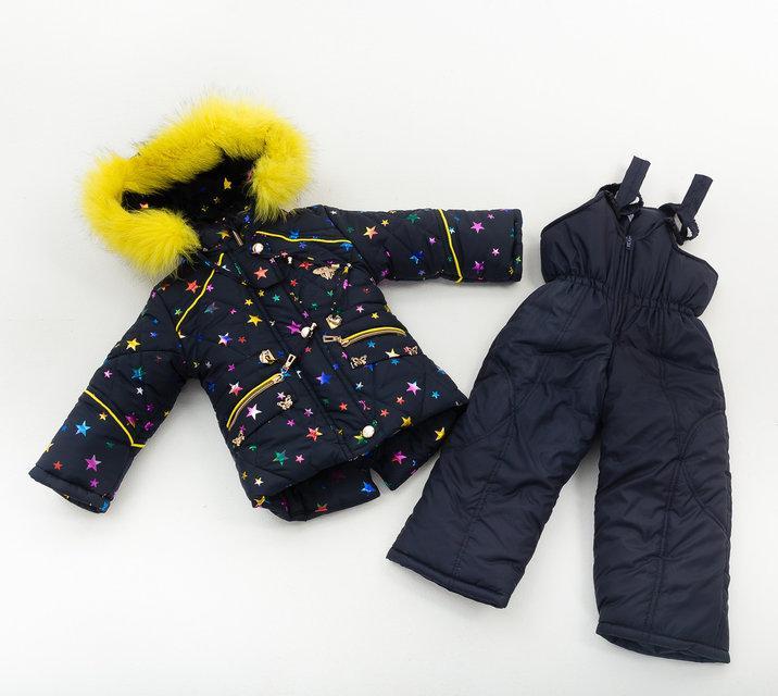 """Детский зимний комбинезон для девочки """"Малышка"""" синий 1-4 года"""