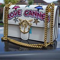 Женская сумочка Pinko (Пинко) Love Cannes, белый цвет, фото 1