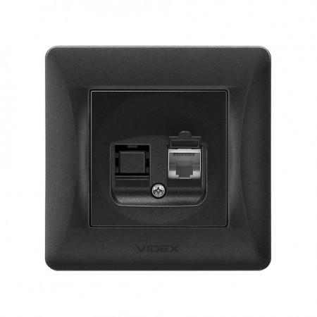 VIDEX BINERA Розетка черный графит CAT6 одинарная компьютерная (VF-BNSK1PC6-BG) (20/120)