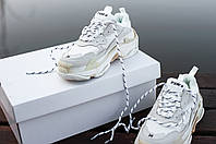 Женские кроссовки Balenciaga Triple S (full white), женские белые кроссовки баленчиага трипл с