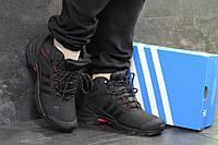 Кроссовки зимние мужские в стиле Adidas Climaproof, нубук, натуральный мех код SD-6763. Черные с красным