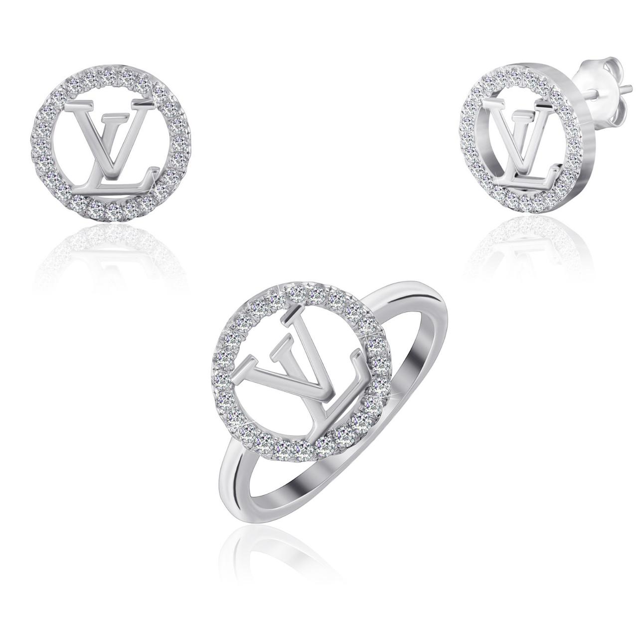 """Серебряный набор кольцо и серьги в стиле """"Louis Vuitton"""""""