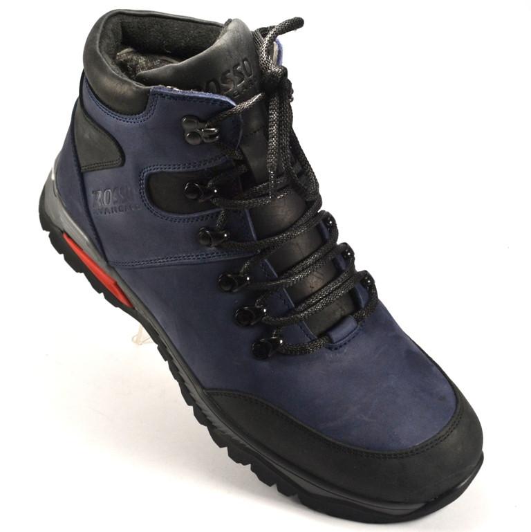 Синие ботинки мужские кожаные на меху Rosso Avangard Lomerback Trend Blu