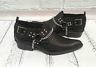 Туфли мужские казаки Broni кожаные черные и коричневые 0038БМ