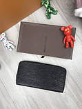 Стильный мужской кошелек на молнии Louis Vuitton черный Премиум Качество клатч Брендовый Louis Vuitton реплика, фото 2