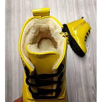 Ботинки детские лакированные зимние на  меху на девочку желтые, фото 2