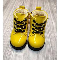 Ботинки детские лакированные зимние на  меху на девочку желтые, фото 3