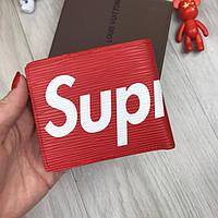 Компактный кошелек Louis Vuitton Supreme LV красный мужской женский  портмоне экокожа бумажник Суприм реплика 32b2f37d0c7
