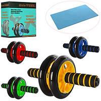 Тренажер MS 0872 колесо для мышц пресса, 27см, диаметр14см, 3 цвета, в кор-ке, 20,5-20-9см