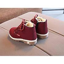 Ботинки детские зимние с мехом эко-нубук бордовые, фото 2