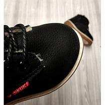 Ботинки детские зимние с мехом эко-нубук черные, фото 3