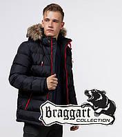 Зимняя мужская спортивная куртка с капюшоном Braggart «Aggressive» (Бреггарт) темно-синяя с красным