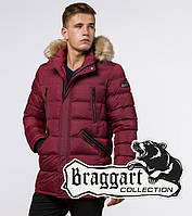 Куртка мужская зимняя с опушкой Braggart «Aggressive» (Бреггарт) бордового  цвета cdd18316e5a