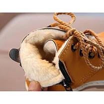 Ботинки детские зимние с мехом эко-нубук коричневые, фото 2