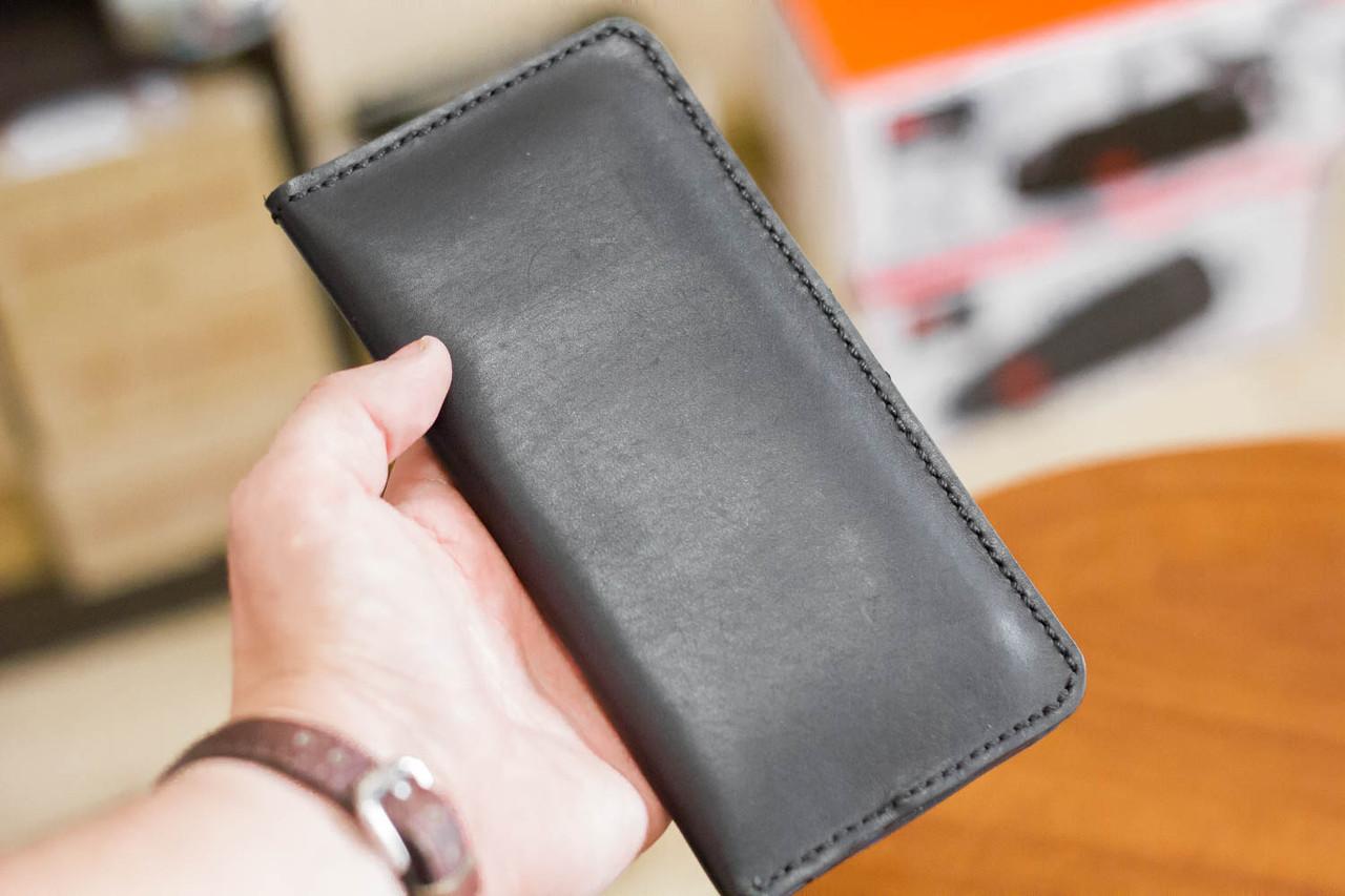 b0b87cc6c55d Кожаный кошелек портмоне из натуральной кожи ручной работы Revier черный  для денег и телефона - megastore