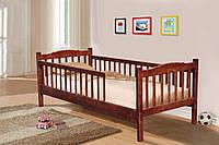 Детская односпальная кровать с бортиками Юниор-2 90х200, натуральное дерево сосна, цвет ольха