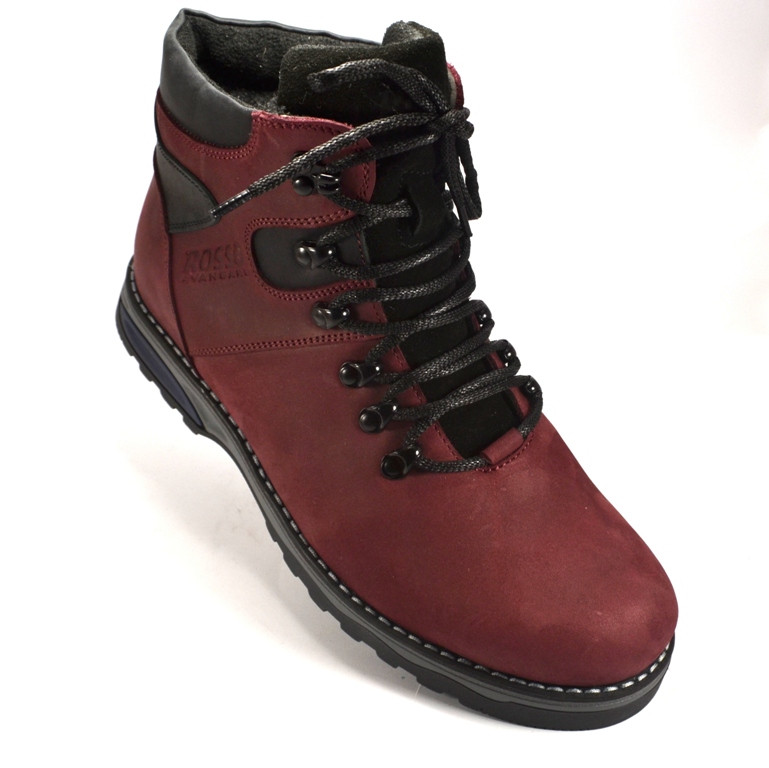 Бордовые ботинки мужские кожаные на меху Rosso Avangard Indi Jone Maroon цвет марон