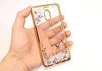 Чехол/Бампер со стразами для Meizu M6 Note Золотой (Силиконовый)