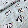Хлопок Премиум c пандами и золотыми звездами на мятном, ширина 160 см