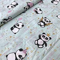 Хлопок Премиум c пандами и золотыми звездами на мятном, ширина 160 см, фото 1